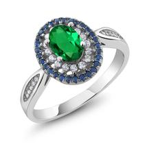 1.20 Ct Oval Green Simulated Emerald 925 Sterling Silver Vintage Ring Fo... - $86.38