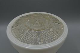 Midcentury MCM Milk Glass Globe Shade White Clear Ceiling Mount Light Fi... - $48.37