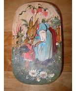 German Pennsylvania decorated banded wooden brides box folk art round - $190.00