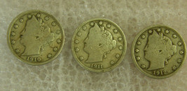 "(3) Liberty Nickels ~ ""V"" Nickel Dates 1910, 1911, 1912 Philadelphia Mint - $6.89"