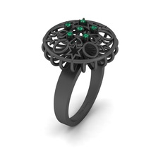 Round Cut 0.08cttw Green CZ Promise Ring For Womens Art Nouveau Engagement Ring - $1,179.99