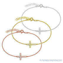 Sideways Cross Christian Charm Crystal Chain 925 Sterling Silver Bracele... - $17.49