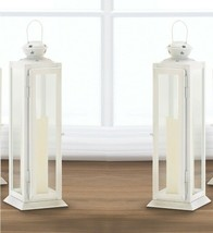 2 Large White Candle Lanterns Traditional Style w/ Rounded Top w/ Star C... - $34.60