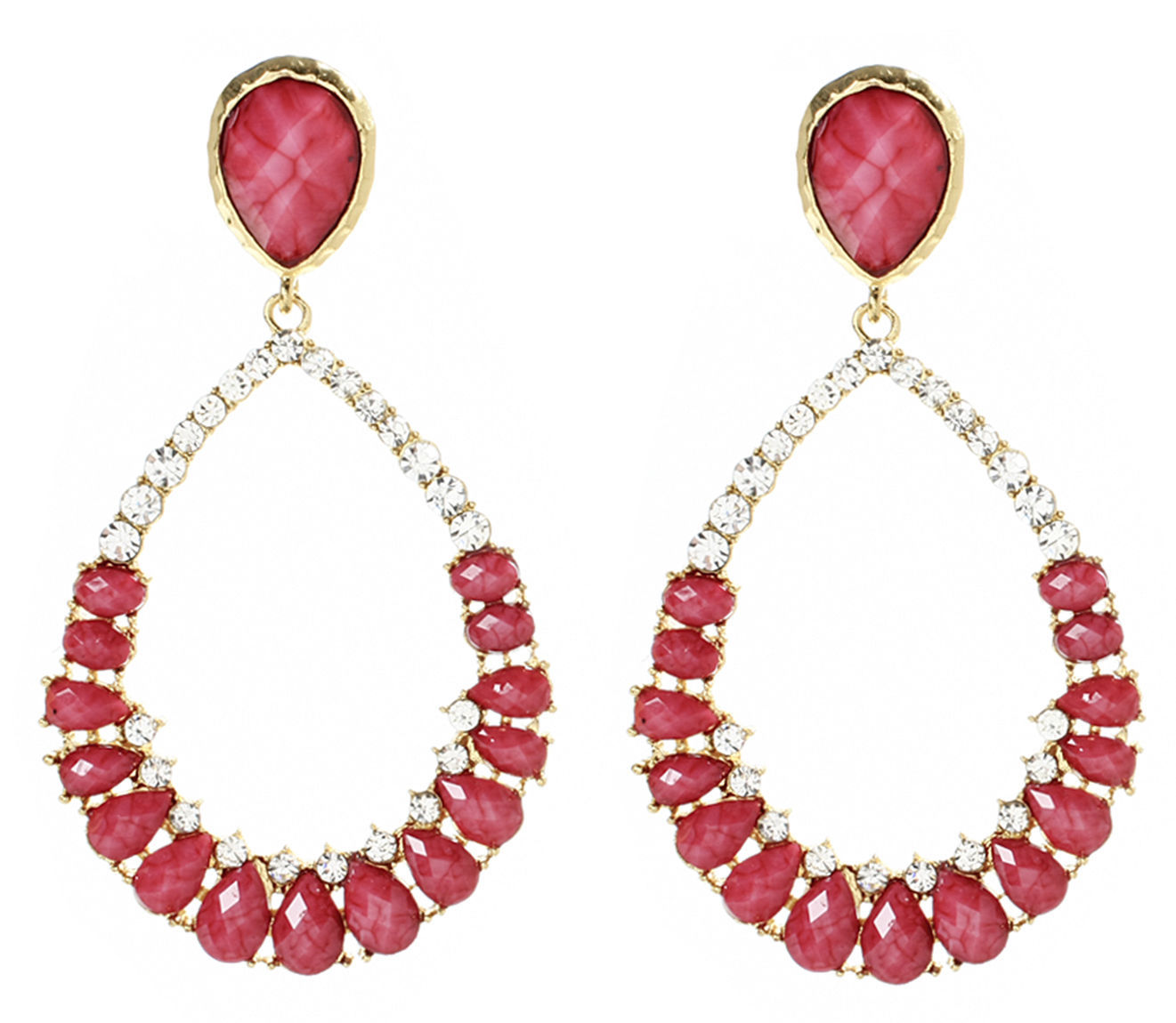 Amrita Singh Fuschia Resin Crystal Judilee LARGE Drop Earrings ERC 3021 NWT