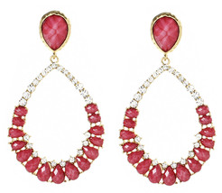 Amrita Singh Fuschia Resin Crystal Judilee LARGE Drop Earrings ERC 3021 NWT - $23.27