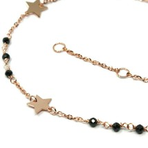 18K ROSE GOLD BRACELET, FACETED BLACK SPINEL, FLAT STARS, ROLO CHAIN ALTERNATE image 2