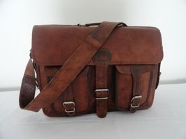 "18"" Vintage Leather Padded Briefcase Laptop Macbook Satchel Padded Messe... - $109.30"