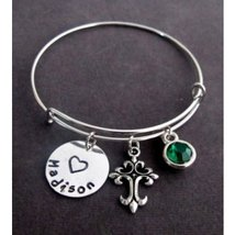 Personalized Cross Bangle Bracelet, Confirmation Gift, Confirmation Jewe... - $17.00
