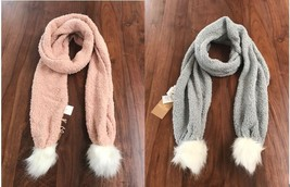 Hollister Women Scarf Pom Pom Cozy Knit Faux Fur Gray Pink One Size Fill... - $22.95