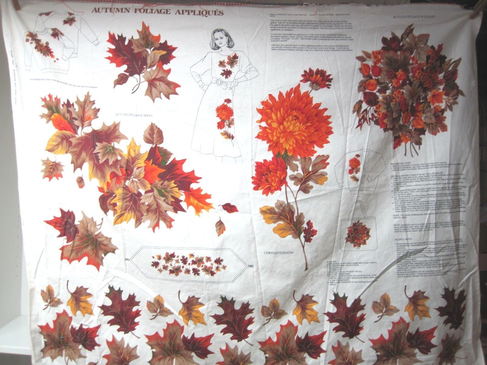 Primary image for Older Cranston VIP Autumn Foliage Printed Fabric Sewing Kit Panel Excellent Cond