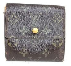Auth Louis Vuitton monogram canvas leather brown multifold wallet France SP0025 - $68.31