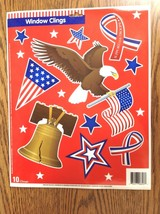 Patriotic USA Window Clings 4th of July Eagle Liberty Bell Flag New - $8.42