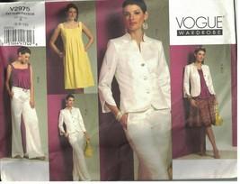 2975 Non Tagliati Vogue Cartamodello Misses Giacca Abito Gonna Pantaloni... - $19.87