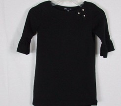 Girl's Gap kids 8 Black Dress cotton knit ruffle sleeves flower accent o... - $10.68