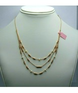 """Women's Fashion Gold Tone Box Chain Layered Necklace with Pearl  15"""" - $21.68"""