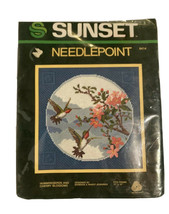 Sunset Needlepoint Kit Hummingbirds And Cherry Blossoms # 6414 Vintage NOS 1982 - $29.69