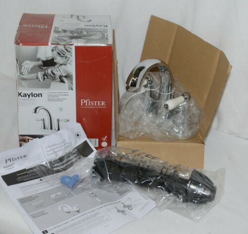 Pfister Kaylon F048KYCC Polished Chrome Finish Lavatory White Handle Faucet