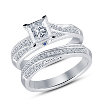 Bridal Engagement Ring Set Princess Cut Sim Diamond 14k White Gold FN 925 Silver - $85.24
