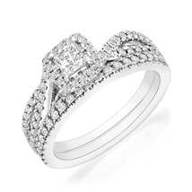 Princess Cut Cubic Zirconia Bridal Wedding Ring Set White Gold Plated 92... - $86.99
