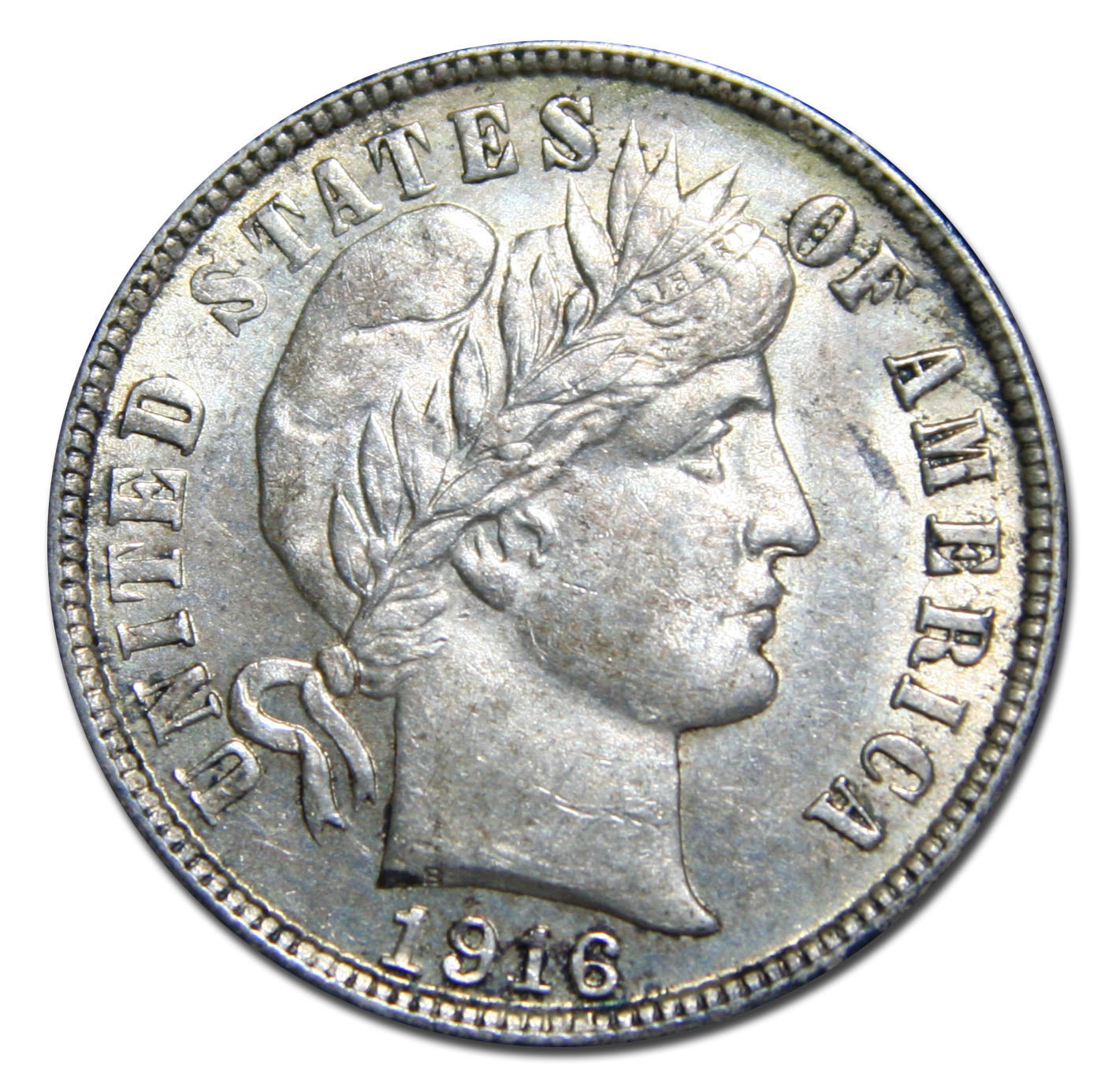 1916S Liberty Barber Head 10¢ Dime Silver Coin Lot# MZ 3002