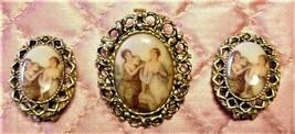 Art Nouveau/Deco Vtg Demi-Parure Brooch Matching Earrings Scantily Clad ... - $98.99