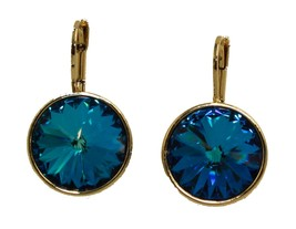 Swarovski Elements Bermuda Blu Bella Orecchini Placcato Oro Levetta Post... - $25.61