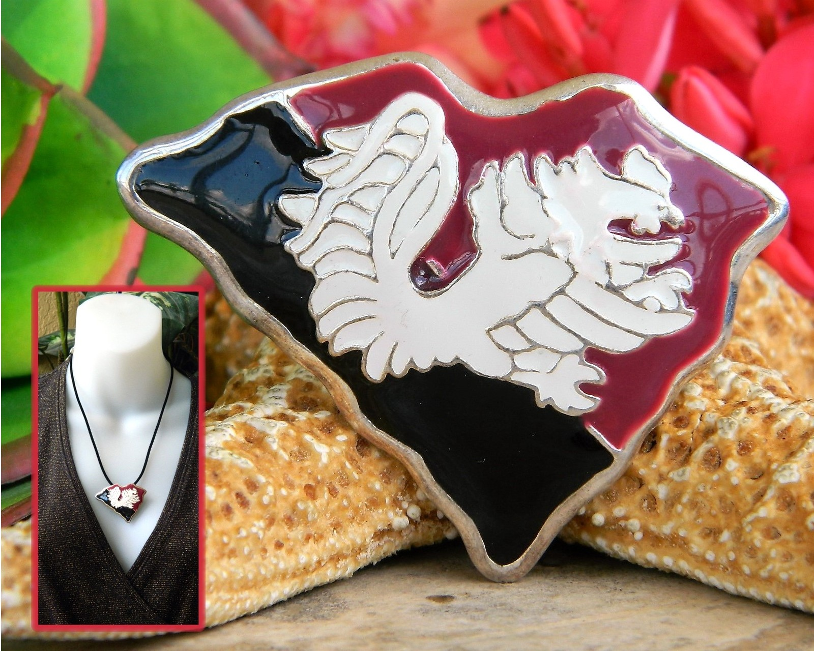 Fighting gamecock rooster garnet black pendant necklace brooch pin usc