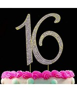 16th Birthday Cake Toppers Gold Cake Topper 16 Bling Birthday Decoration... - $13.10