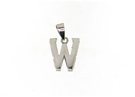 18K WHITE GOLD LUSTER PENDANT WITH INITIAL W LETTER W MADE IN ITALY 0.71 INCHES
