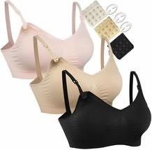 HOFISH 3PACK Full Bust Seamless Nursing Maternity Bras Bralette S-XXL wi... - $55.98
