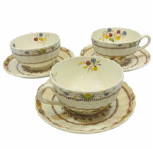 Spode Cowslip Lot Of 3 Cups And Saucers England Floral Basketweave EUC - $29.69