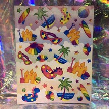 Vintage Lisa Frank Full Sticker Sheet S126 Mint 90s Beachy Fun