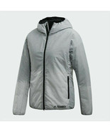 new adidas TERREX WINDWEAVE INSULATED HOODED JACKET women's S gray winte... - $108.80