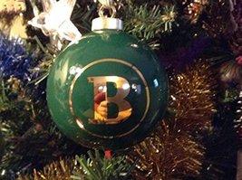 Letter B in Gold on Green Ceramic Monogram Ornament