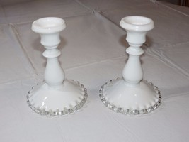 Vintage Fenton white milk glass crest ruffled base set of 2 Candle Stick Holder~ - $35.63