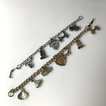 2 Vintage San Francisco Bay Charm Bracelets Silver & Gold Tone 6 1/2 & 7... - $14.20