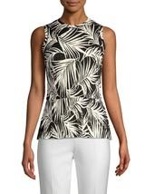 NEW BOSS Hugo Boss Emirna Palm Print Sleeveless Peplum Blouse Size S Sma... - $31.73