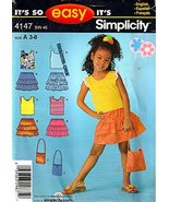 Simplicity Sewing Pattern 4147 c2006 Childs' Bag, Skirt and Top, Size A ... - $9.85
