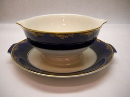 ROSENTHAL China CLASSIC ROSE COBALT Blue GRAVY Bowl Attached UNDER PLATE... - $98.99