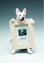 "GERMAN SHEPHERD WHITE DOG PHOTO PICTURE FRAME GIFT RESIN 2-1/2""X3-1/2"" - $14.95"