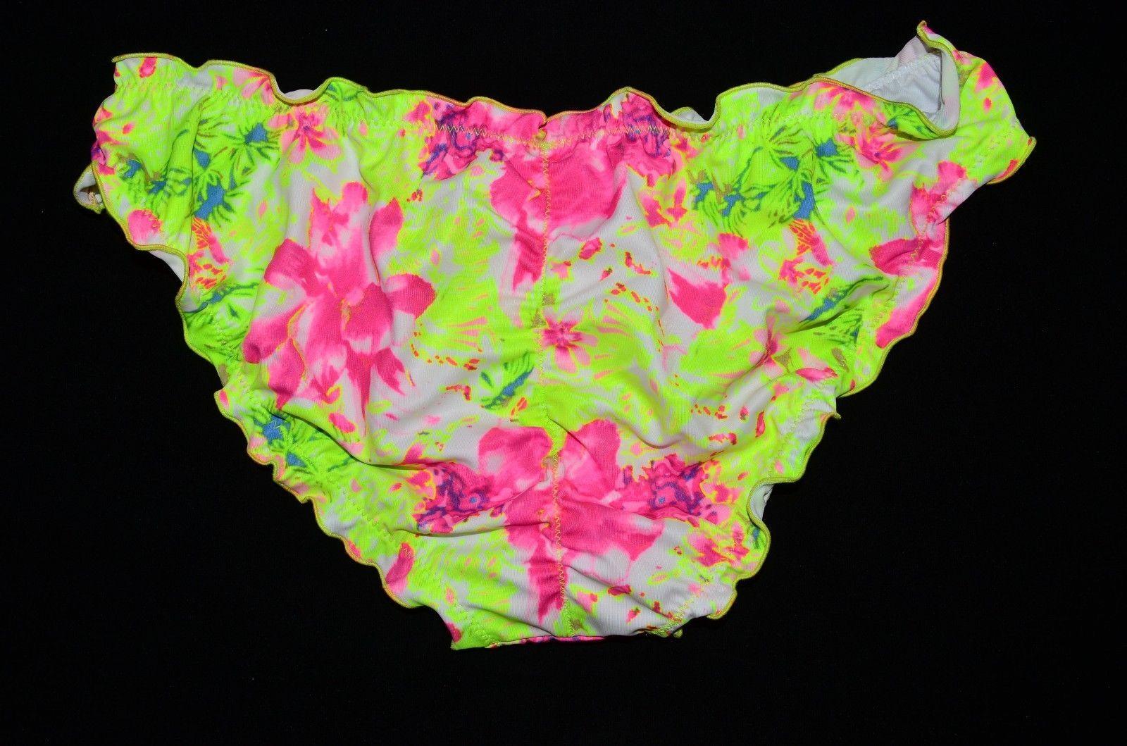 MALIA Green Pink Floral Cheeky Ruched Ruffle Bikini Bottom Small S NEW Victoria