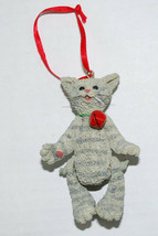 Christmas Ornament Resin Gray Striped Cat Kitty Red Bell Jointed Legs 3.... - $14.80