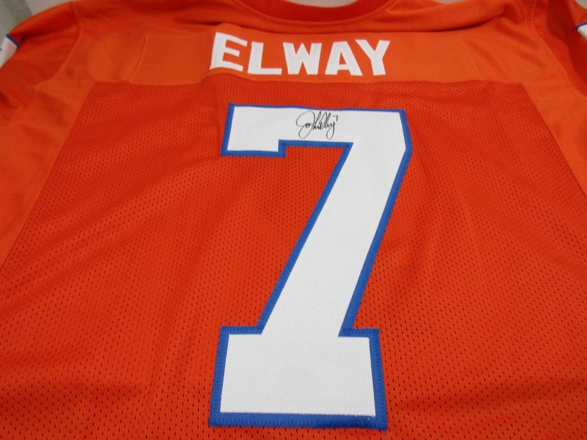 quality design 76182 dbe58 JOHN ELWAY - NFL HALL OF FAME - HAND SIGNED BRONCOS CUSTOM FOOTBALL JERSEY  COA
