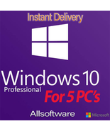 Windows 10 Professional Pro 32/64-bit 5 user Product/Activation key For ... - $36.99