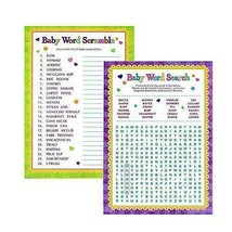 Baby Shower Playing Games Words Search Word Scramble Fun Activities - $5.86