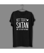 Funny Sarcastic Black T-Shirt Sarcasm Navy Shirt Atheist Not Today Satan... - $17.99