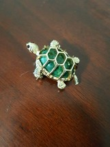 Vintage Gerry's Goldtone Turtle Brooch w Green Cabachon & Red Glass Eyes... - $5.50