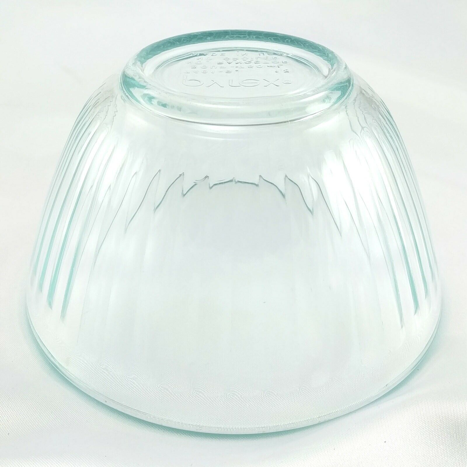 Pyrex 7401-S Ribbed Side Vintage Blue Glass Serving Bowl 3 Cup ~ CHIPPED RIM image 3