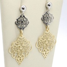 Drop Earrings Yellow and White Gold 750 18K, Double Rhombuses Worked image 2