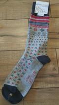 ALFANI SPECTRUM Christmas SnowFlake Grey  Red 1 pair Mens socks, shoe size 7-12